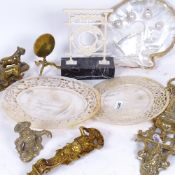 Various collectables, including brass wall-hanging matchbox holder, mother-of-pearl panels, pearl