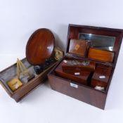 A 19th century mahogany box, and 2 tea caddies, bone and ebony dominos, cigarette dispenser,