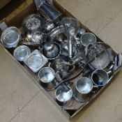 A tray of mixed plated ware, to include 3 sugar buckets, tea caddies, tankards etc