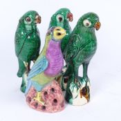 A group of 4 Chinese glazed pottery parrots, largest height 22cm (4)