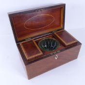 A 19th century satinwood and kingwood inlaid tea caddy, with 2 removable interior boxes, and