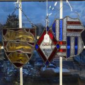 3 stained lead-light glass hanging panels, including Royal Arms of England, largest height 26cm (3)