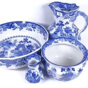 A 19th century Mason's ironstone blue and white wash jug and basin, vase and bowl, jug height