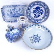 A group of Dutch Delftware, including tea caddy, posy vase, dish etc (5)