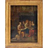 """An Interior Scene - Our Lady embroidering with a picture in the background """"Moses and Aaron with the"""