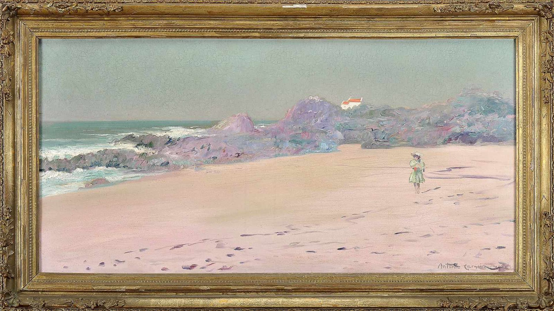Los 88 - Beach view with figureANTÓNIO CARNEIRO - 1872-1930, Beach view with figure, oil on canvas, signed...