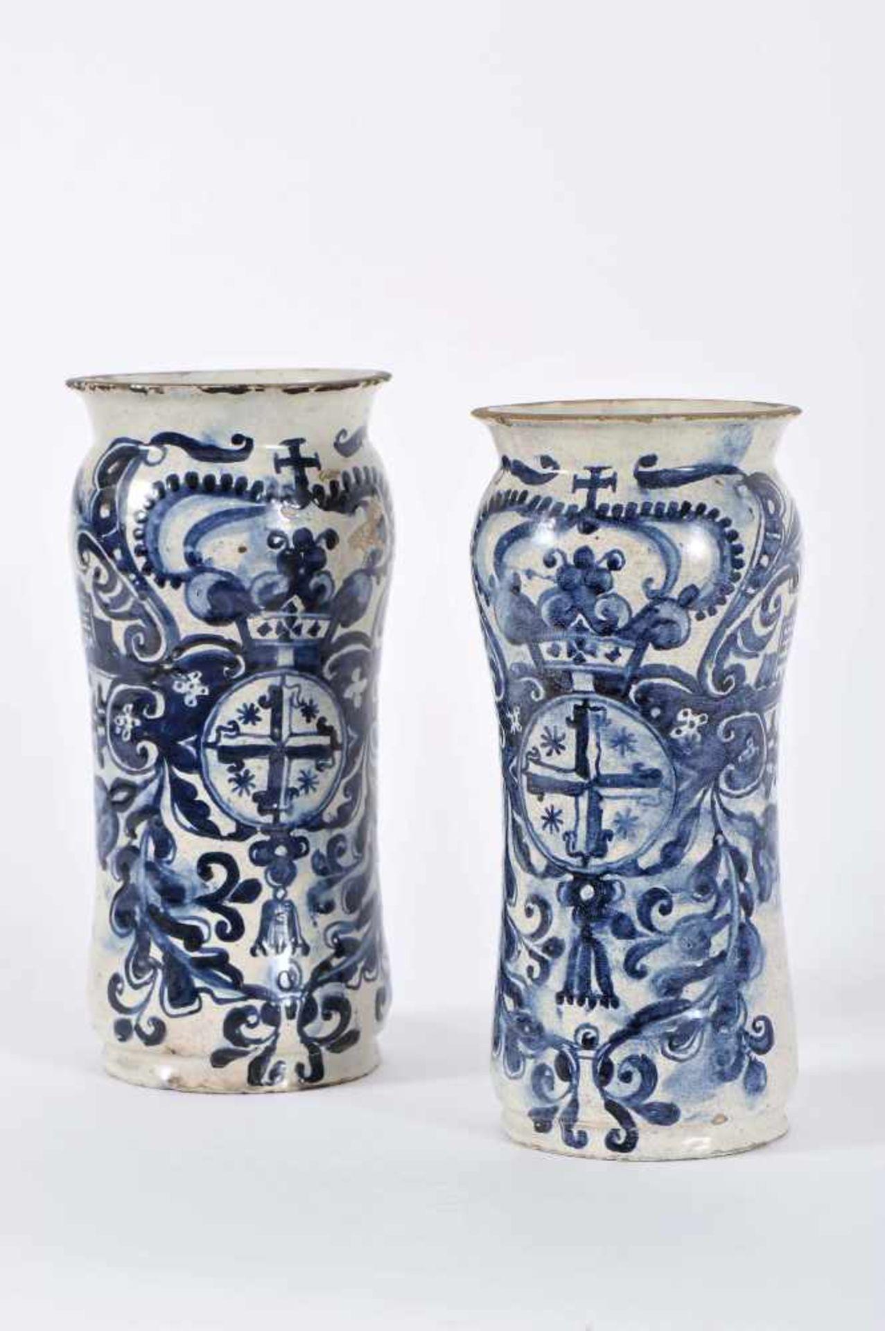 Los 67 - A Pair of Pharmacy PotsA Pair of Pharmacy Pots, faience, blue «Barroque cartouche» decoration...