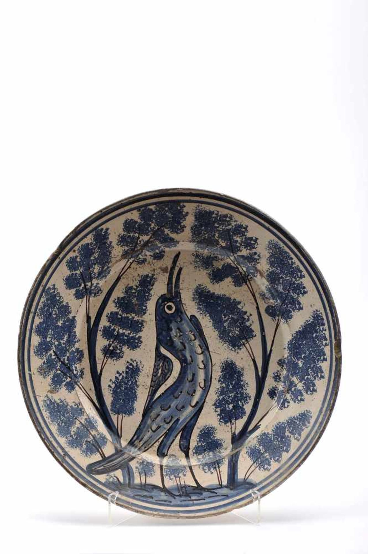 """Los 48 - A DishA Dish, Coimbra's faience, blue and vinous decoration known as """"Brioso"""", """"Bird chirping..."""