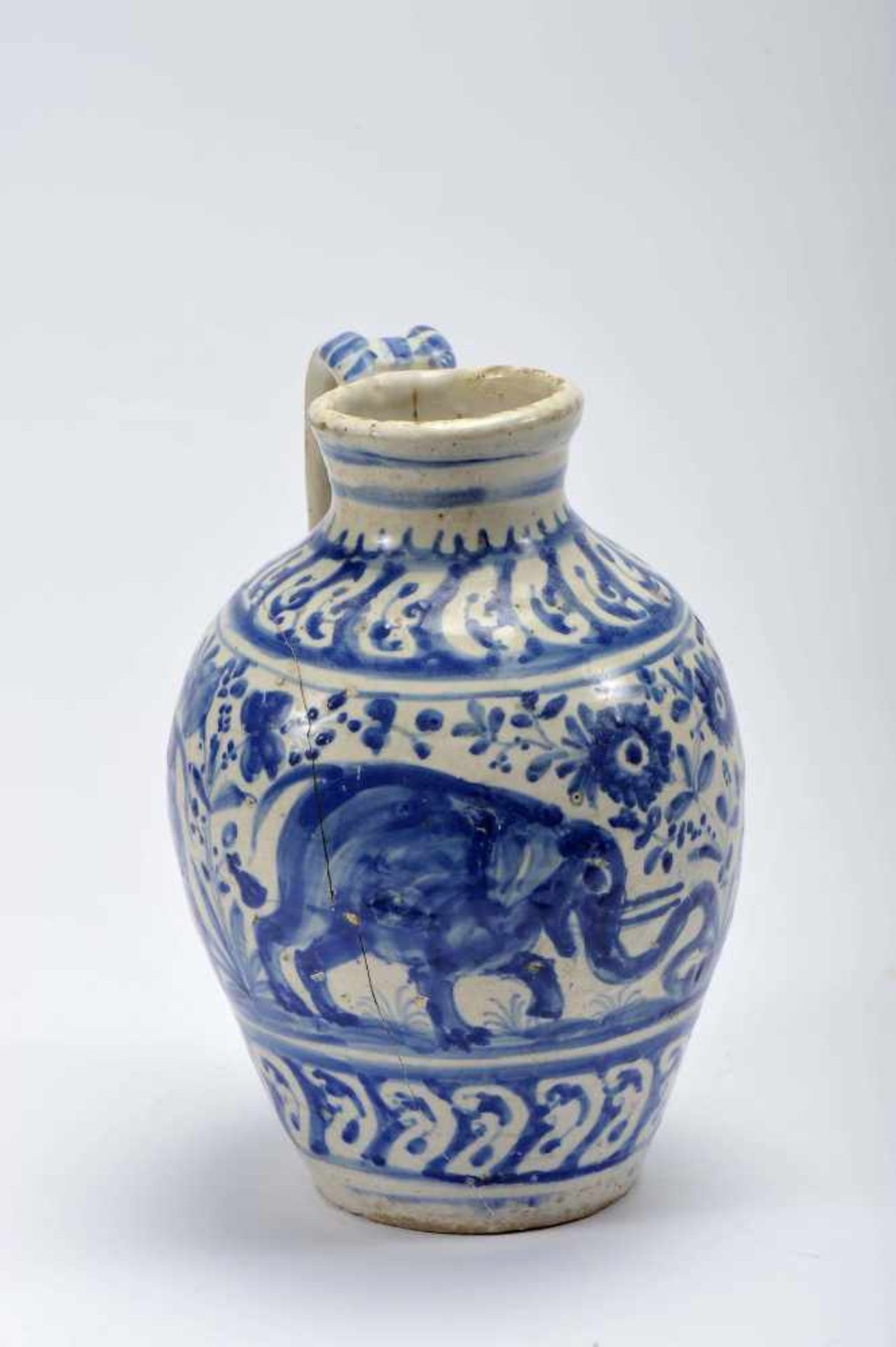 "Los 51 - A BeakerA Beaker, faience, blue ""Baroque band"" decoration ""Elephants, rabbits, birds and..."