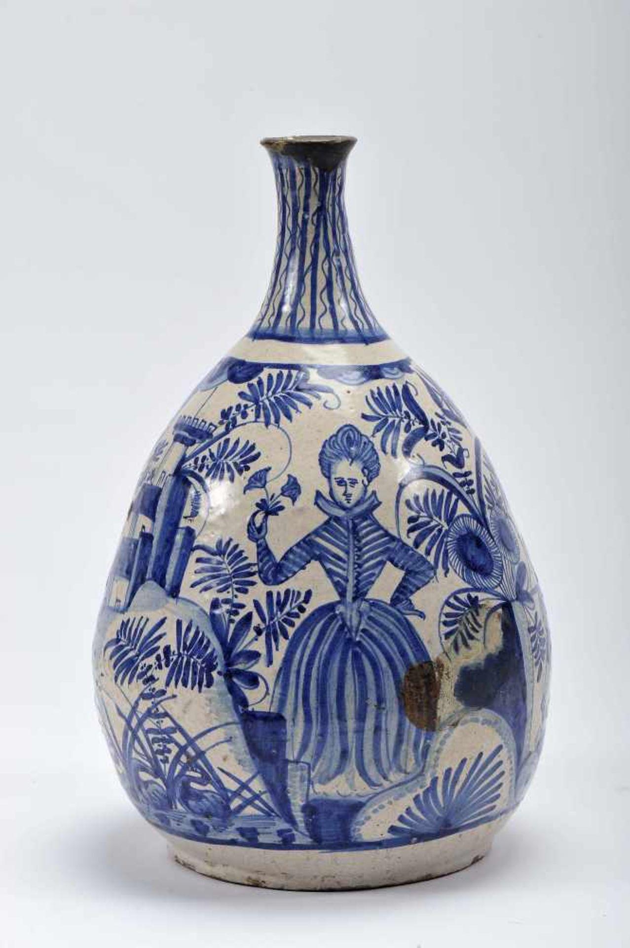 "Los 52 - A Pear shaped BottleA Pear shaped Bottle, faience, blue decoration ""Landscape with female figure..."