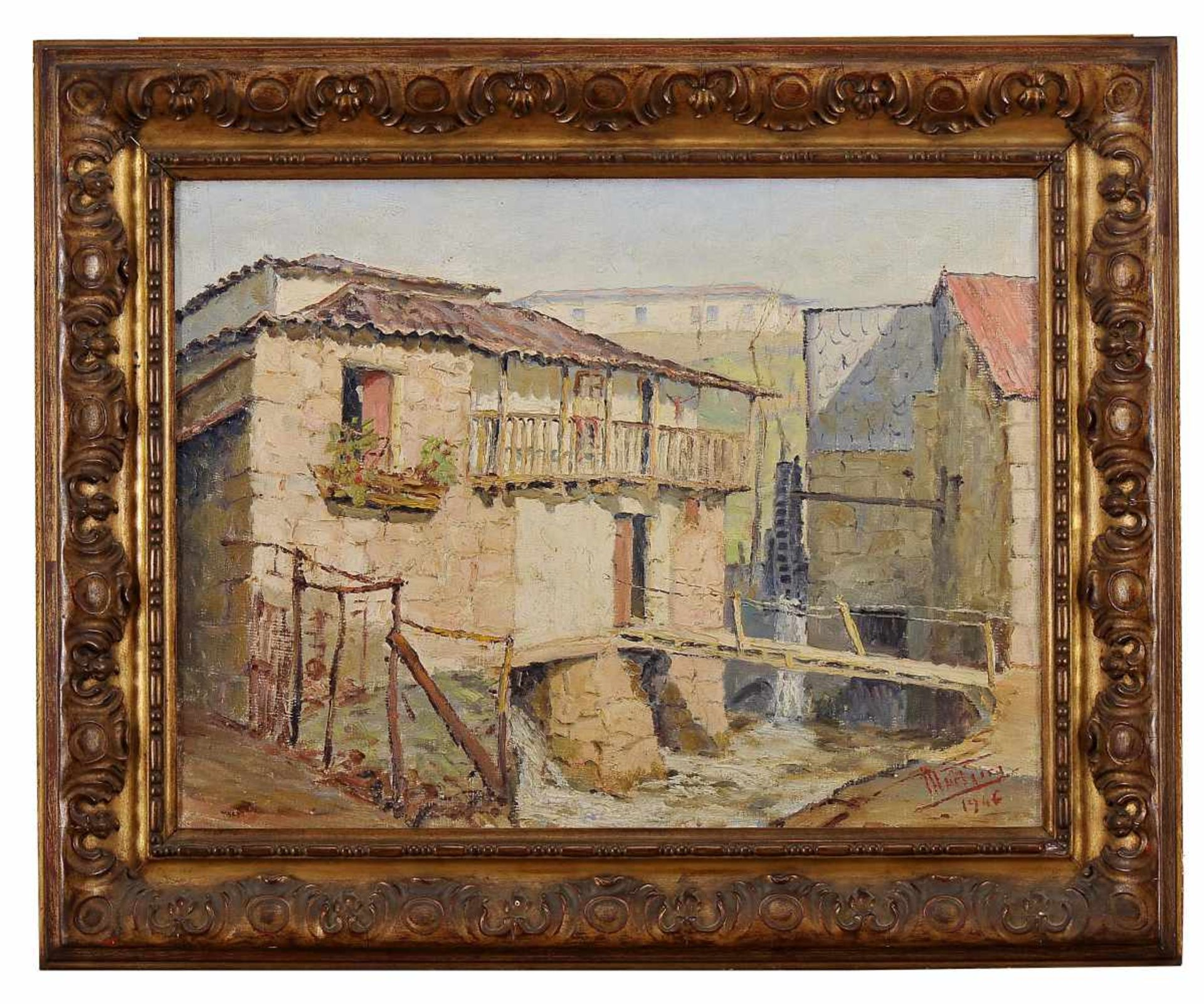 """Los 95 - """"Margens do Ceira""""JAIME MURTEIRA - 1910-1986, """"Margens do Ceira"""", oil on canvas, signed and dated..."""