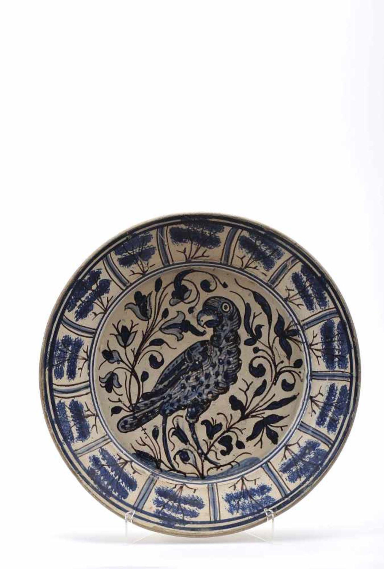 "Los 49 - A DishA Dish, Coimbra's faience, blue and vinous decoration aka 'Brioso', ""Parrot"", Portuguese,..."