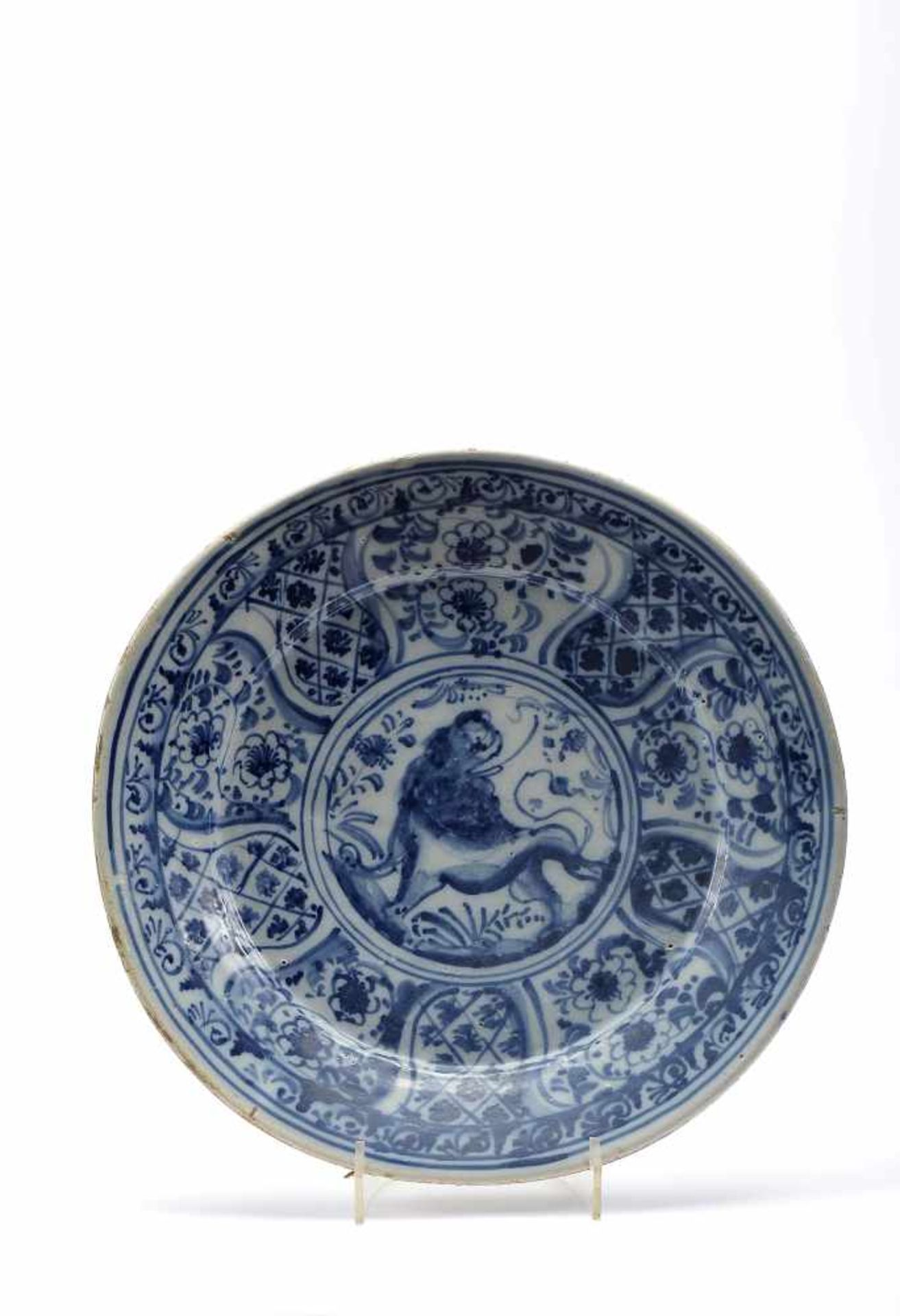 "Los 50 - A DishA Dish, Lisbon's faience, blue decoration aka «Mount Sinai» ""Lanscape with Lion"",..."