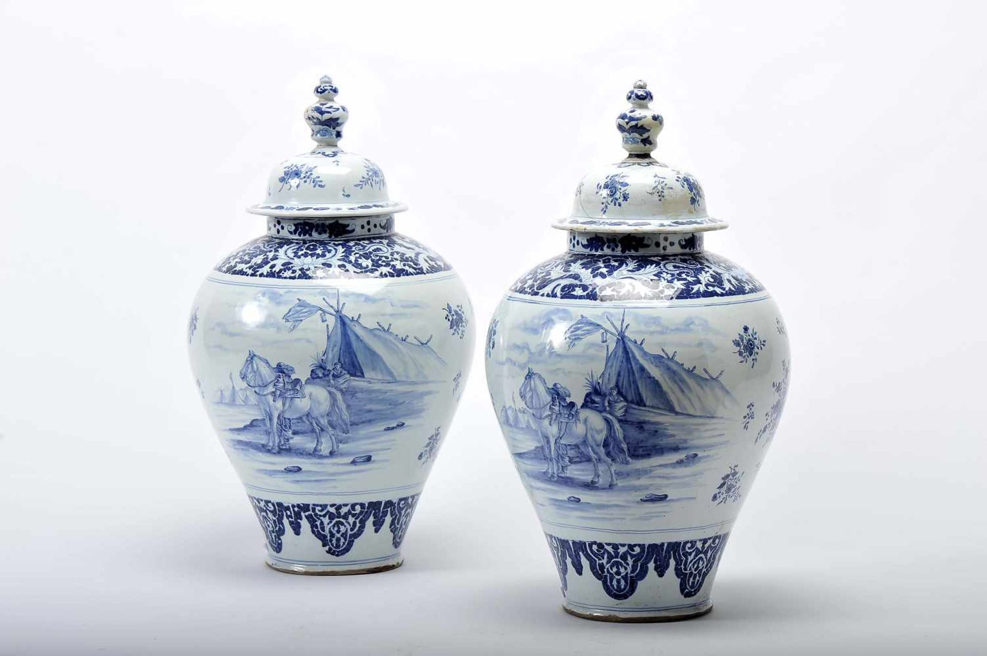 "Los 47 - A Pair of PotsA Pair of Pots, Delft faience, blue decoration ""Landscape with camping"" and..."