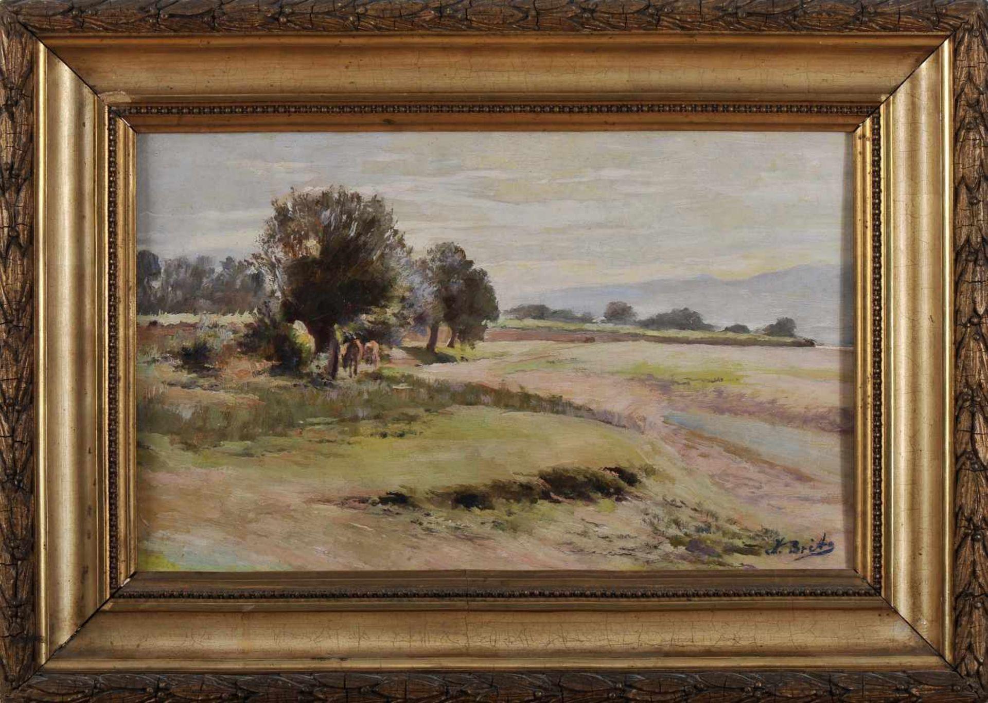 Los 94 - Landscape with animalsJOSÉ DE BRITO - 1855-1946, Landscape with animals, oil on wood, small...