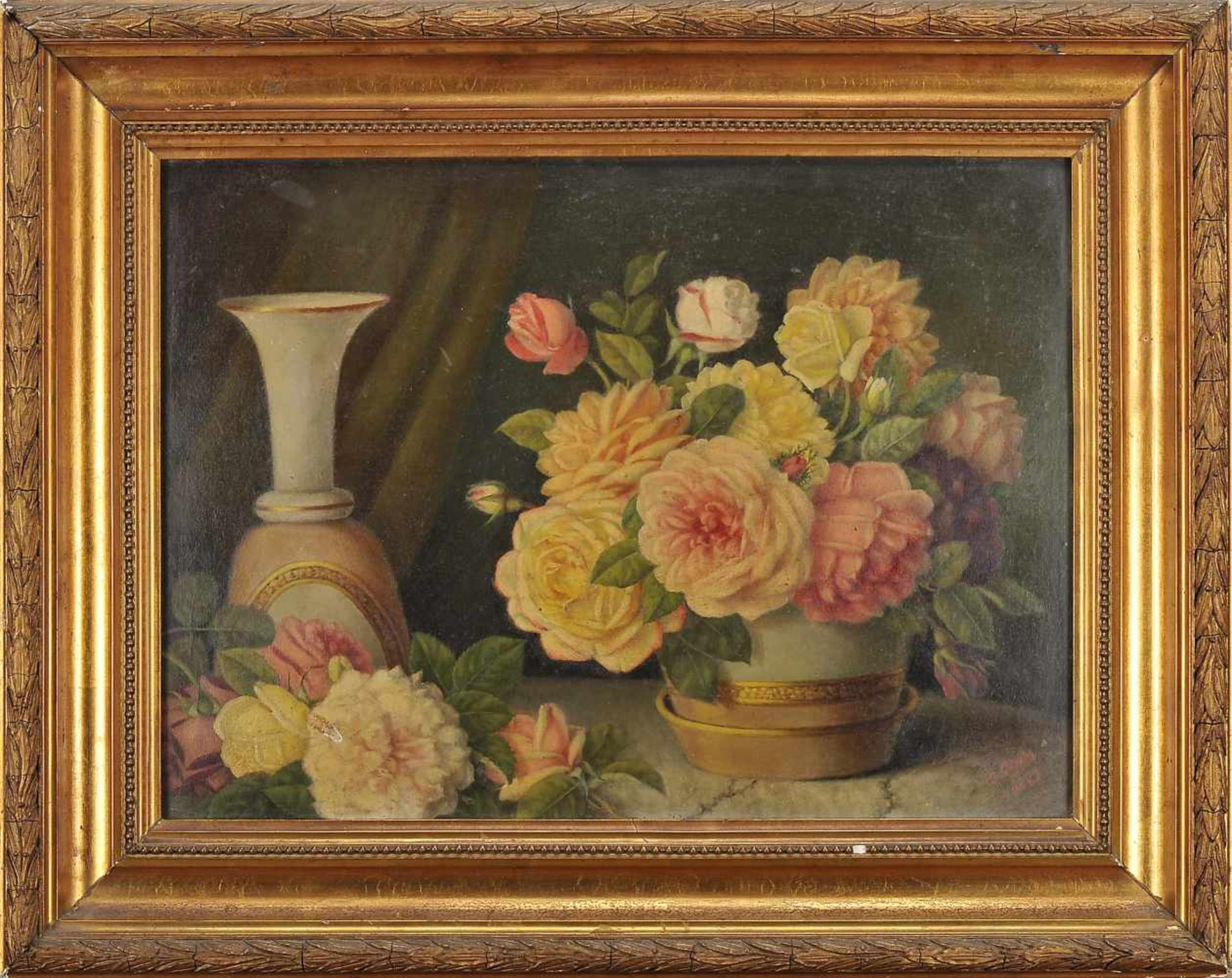 Los 90 - Still life - FlowersANTÓNIO JOSÉ DA COSTA - 1840-1929, Still life - Flowers, oil on cardboard,...