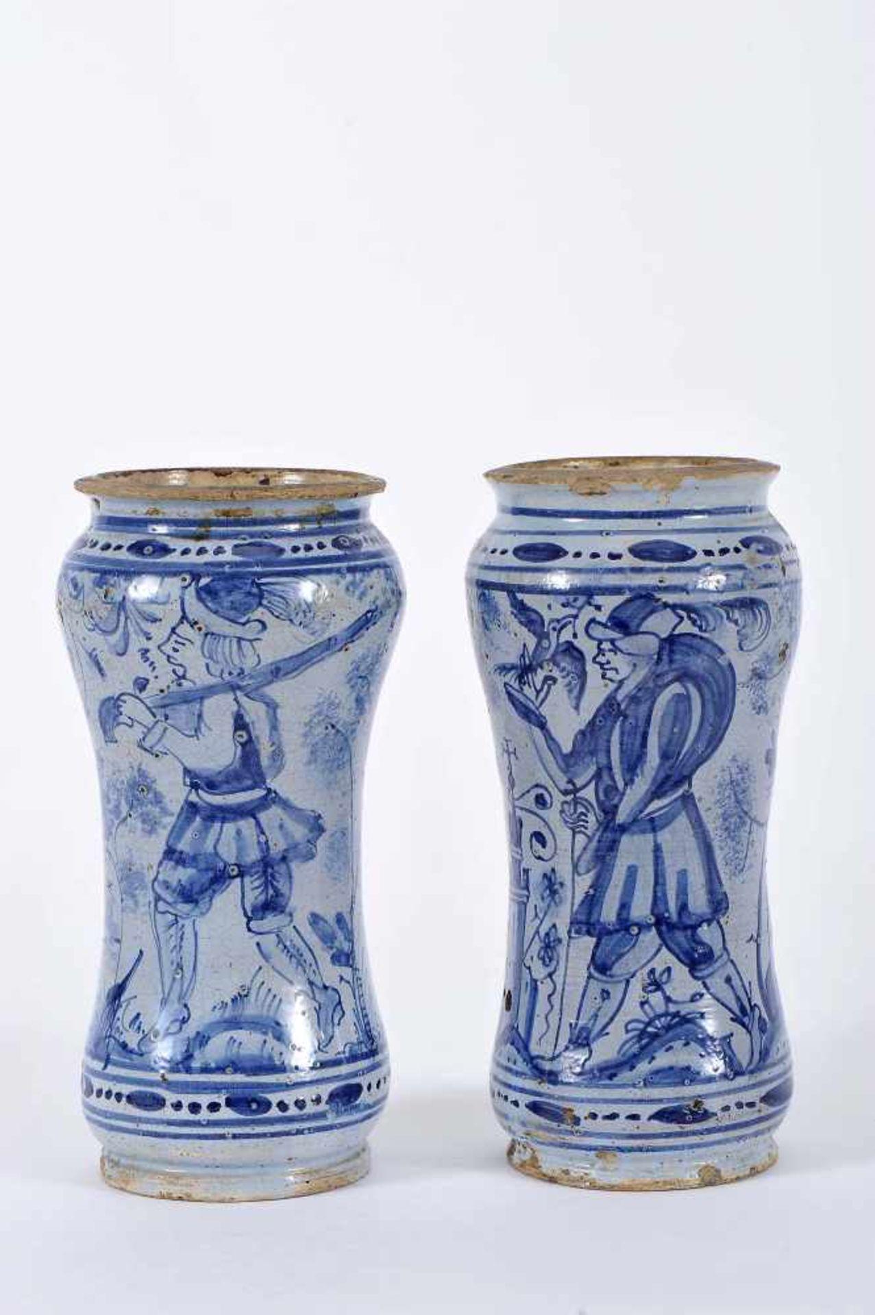 """Los 66 - A Pair of Pharmacy PotsA Pair of Pharmacy Pots, faience, blue decoration """"Hunter"""" and """"Falconer""""..."""