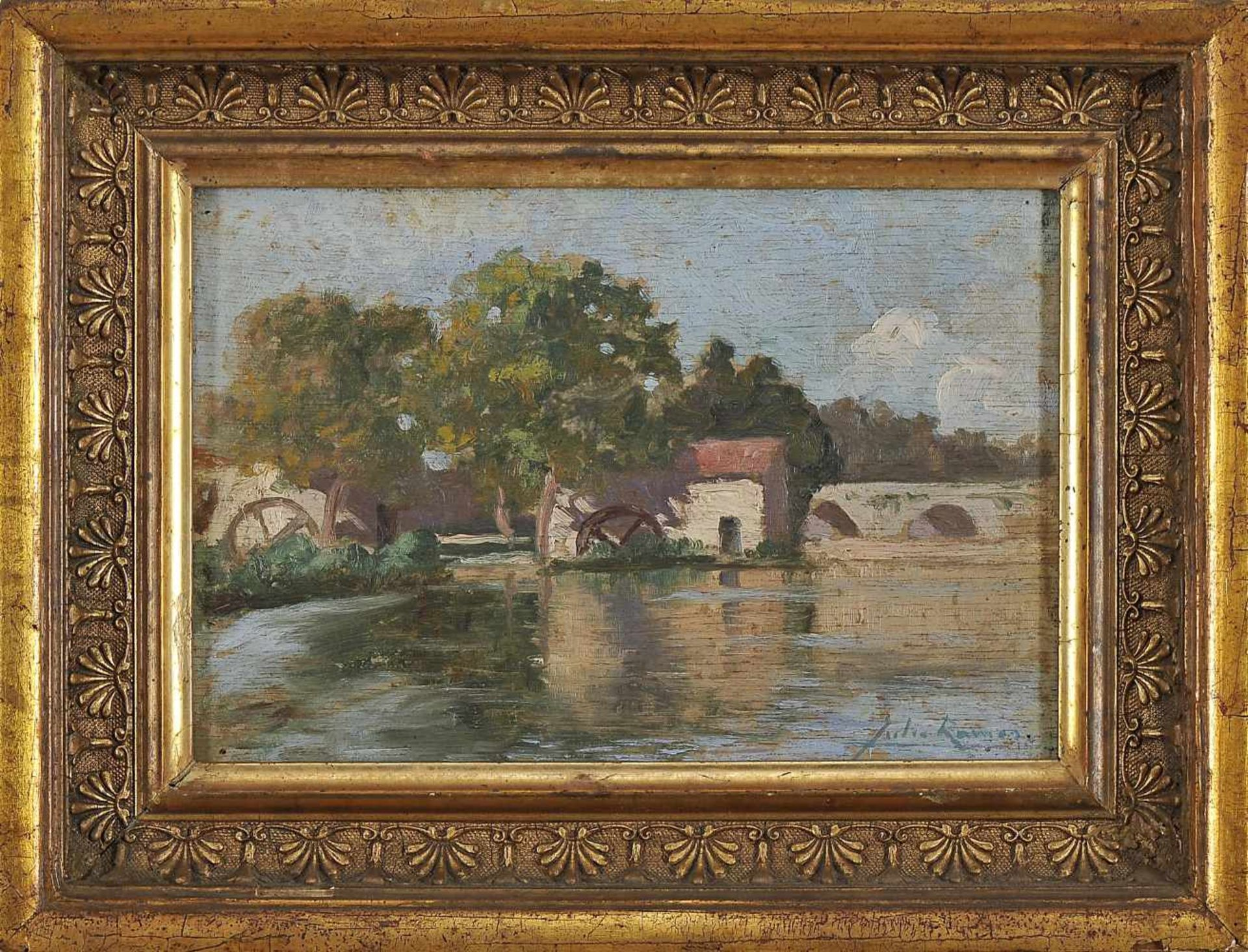 Los 92 - A WatermillJÚLIO RAMOS - 1868-1945, A Watermill, oil on wood, crack on the support, signed, Dim....