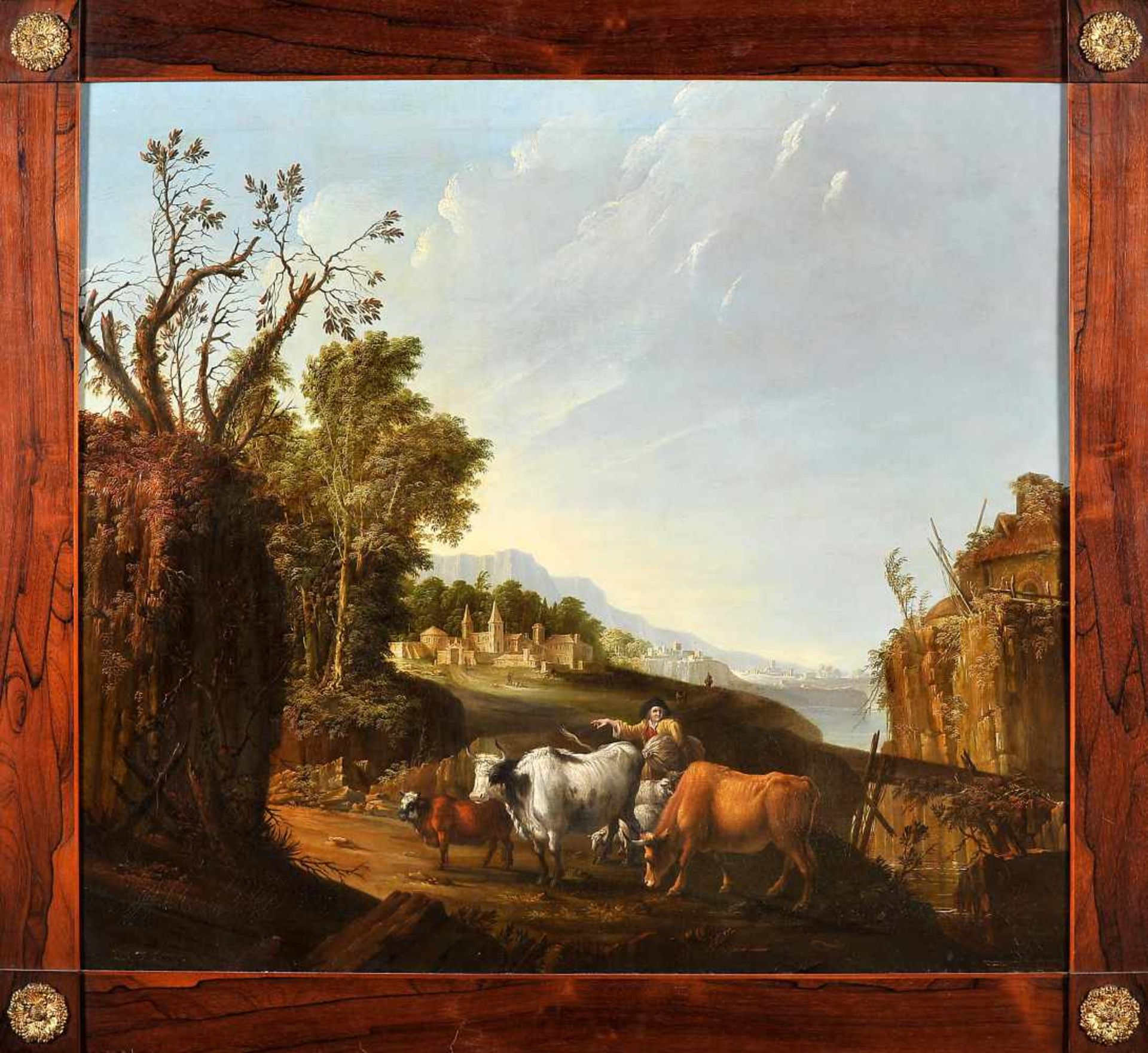 Los 82 - Figures and cattle with city and seaANDRÉ MONTEIRO DA CRUZ - 1770-1851, Figures and cattle with...