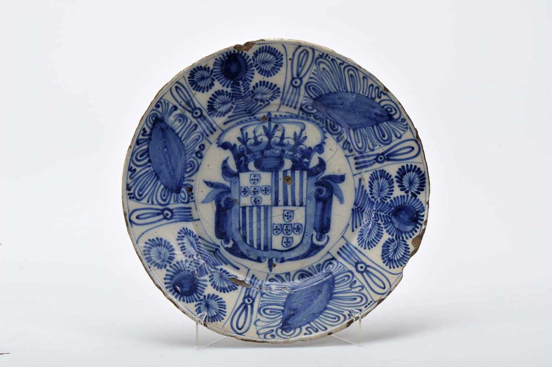"Los 58 - A DishA Dish, faience, blue decoration aka «Pré-Aranhão», ""Coat of arms"" possibly of a Monastery:..."