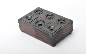 An InkstandAn Inkstand, Brazilian rosewood, side panels with ripple moulded decoration, top part