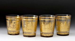 """Four Faceted BeackersFour Faceted Beackers, glass, gilt decoration """"Court scenes"""", interior with"""