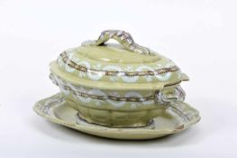 A Tureen with StandA Tureen with Stand, rocaille, faience probably from the Miragaia Factory,