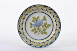 """A DishA Dish, faience of Fervença, blue, green and yellow decoration """"Flower and leaves"""","""