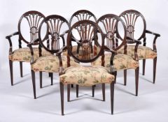 A set of six armchairs