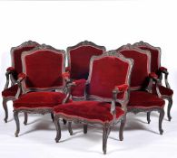 A Set of Settee and Six Fauteuils