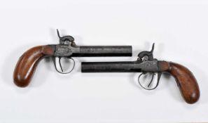 A pair of box-lock percussion pistols