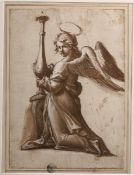 Scuola italiana dell'inizio del XVII secolo, Cherubino con candeliere - penna e [...]