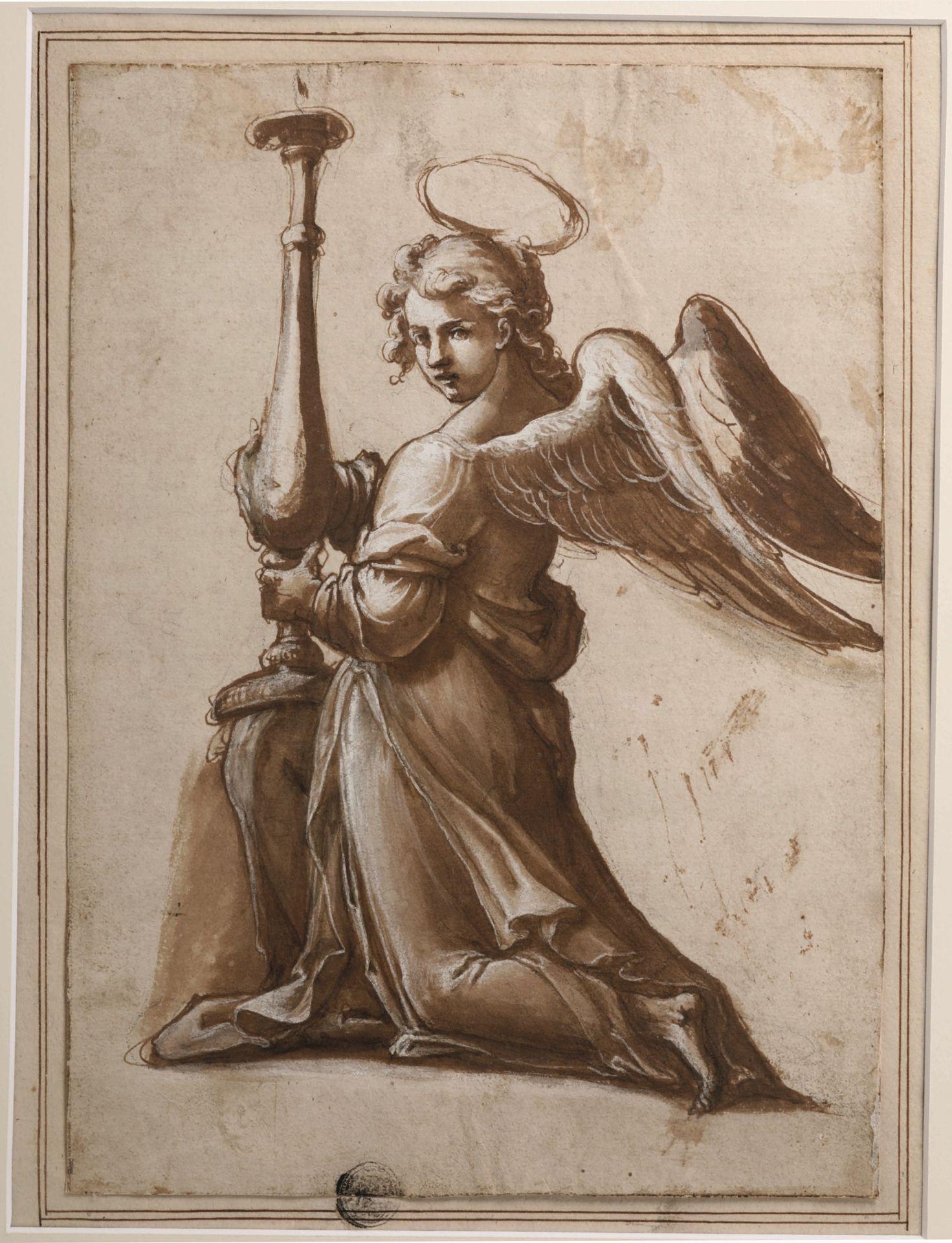Los 5 - Scuola italiana dell'inizio del XVII secolo, Cherubino con candeliere - penna e [...]