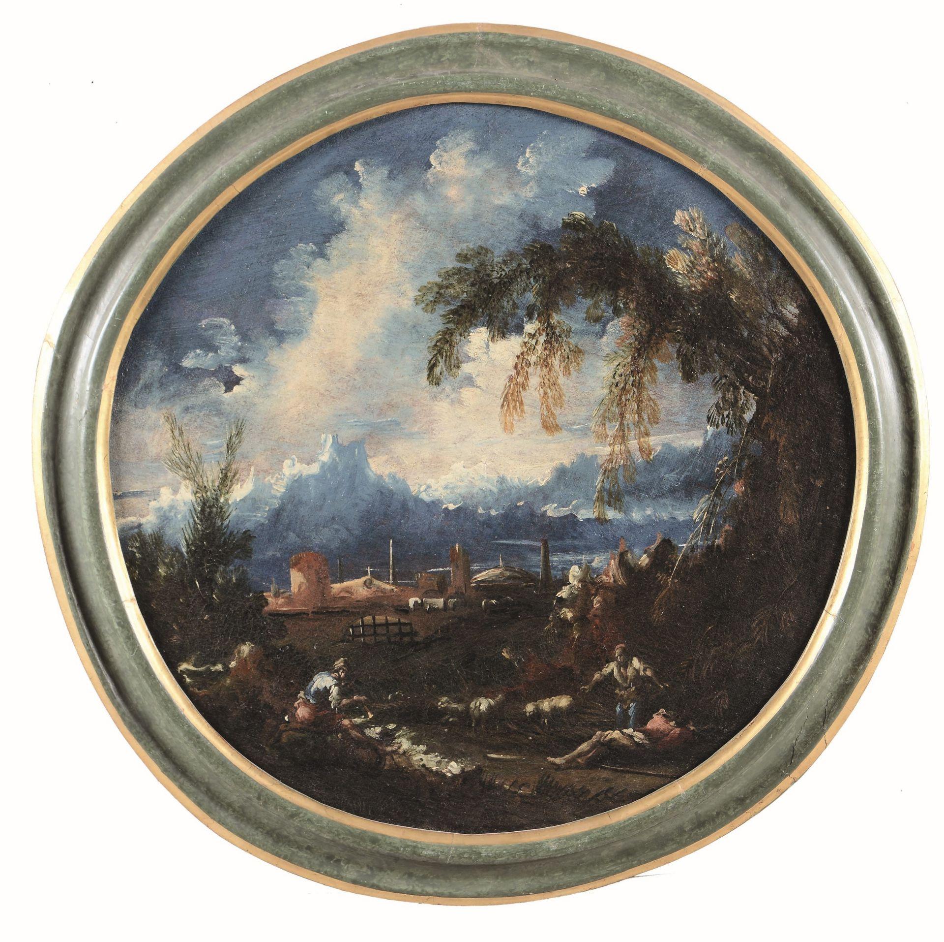 Anton Francesco Peruzzini (Ancona 1643 - Milano 1724), Paesaggio con pastori e [...]