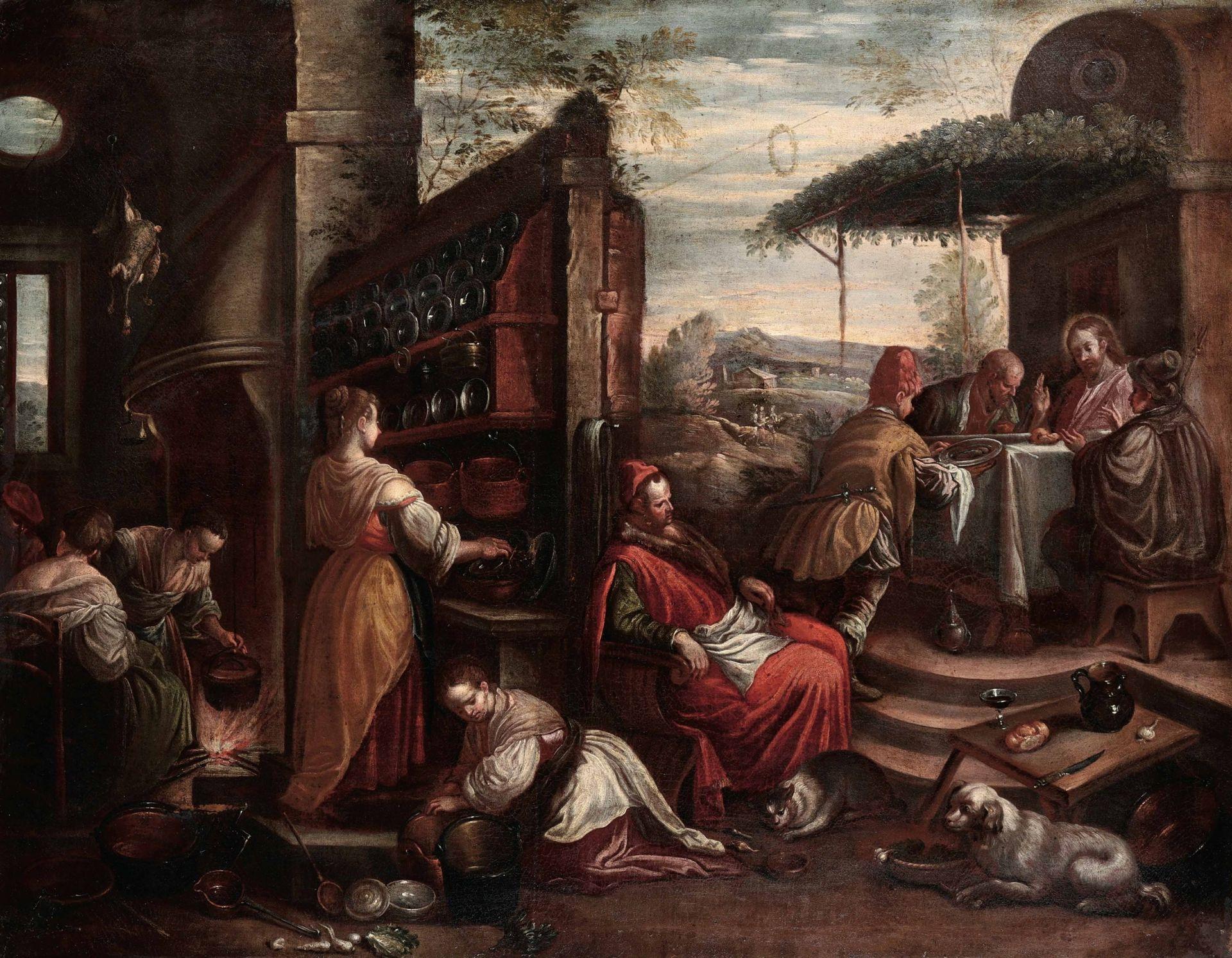 Los 28 - Leandro Bassano (Bassano del Grappa 1557 - Venezia 1622), attribuito a, La cena di [...]