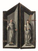 Scuola fiamminga del XVI secolo, Trittico raffigurante la Madonna in trono con Santa [...]