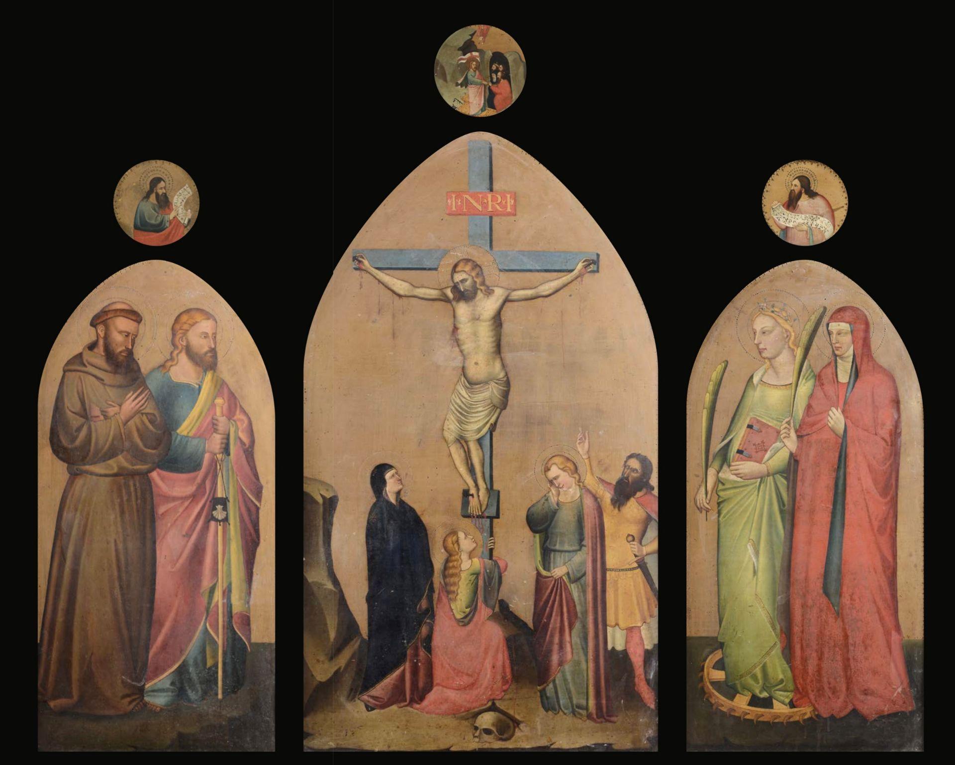 Los 38A - Anonimo pittore del XIX secolo, Crocifissione, San Francesco d'Assisi e San [...]
