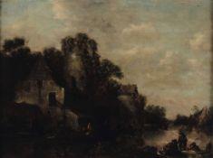 Scuola olandese del XVII secolo, Paesaggio con viandanti e architteture - olio su [...]