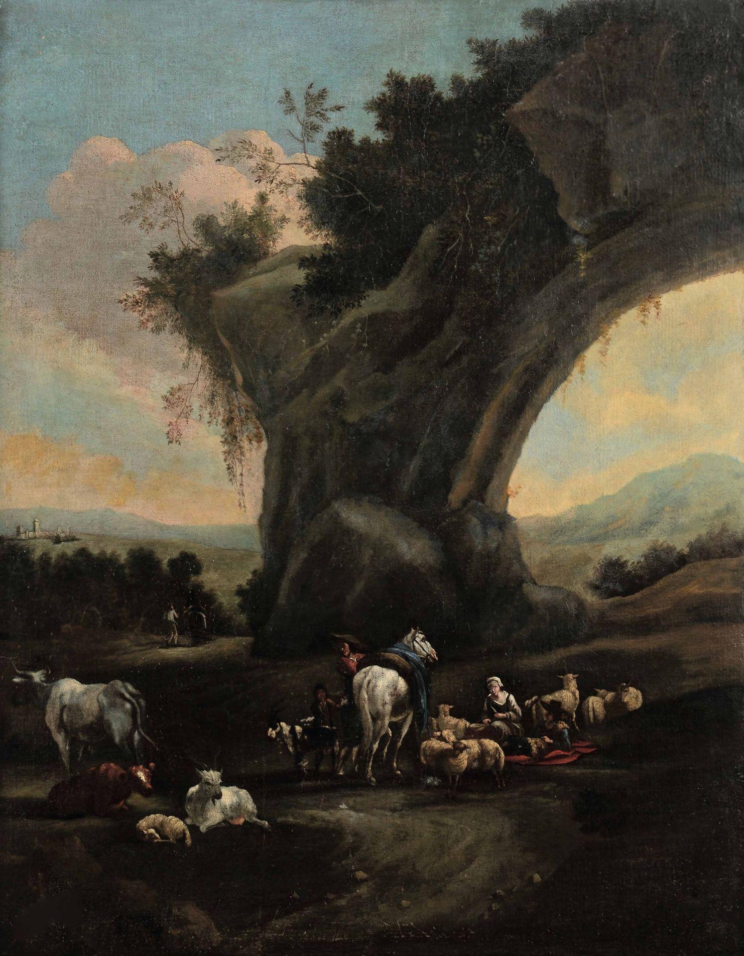 Los 24 - Scuola fiamminga del XVII secolo, Paesaggi con pastori e armenti - coppia di dipinti [...]