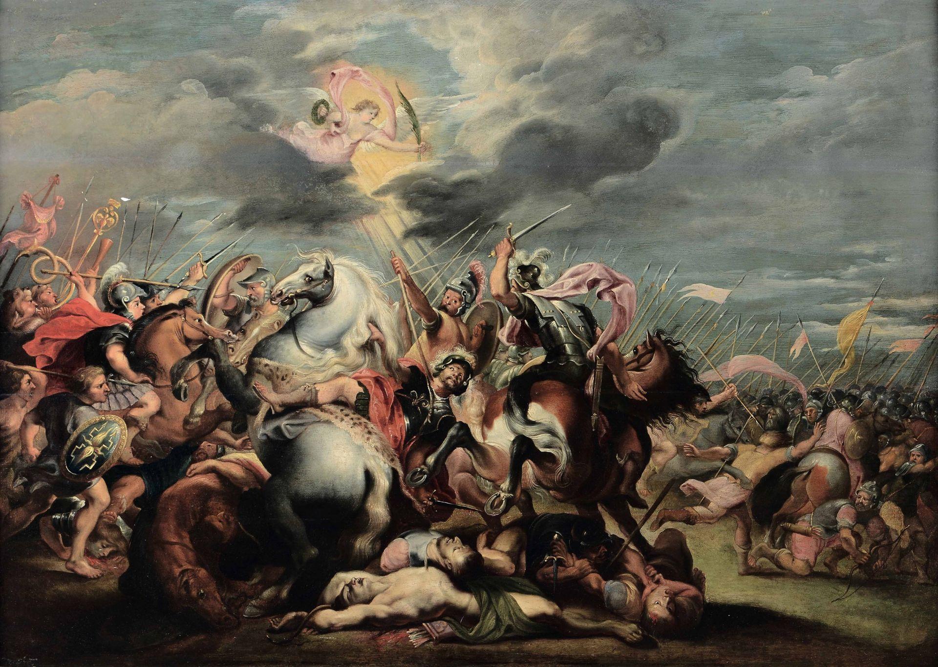 Los 56 - Scuola del Nord Europa dell'inizio del XVIII secolo, Battaglia con cavalieri - olio [...]