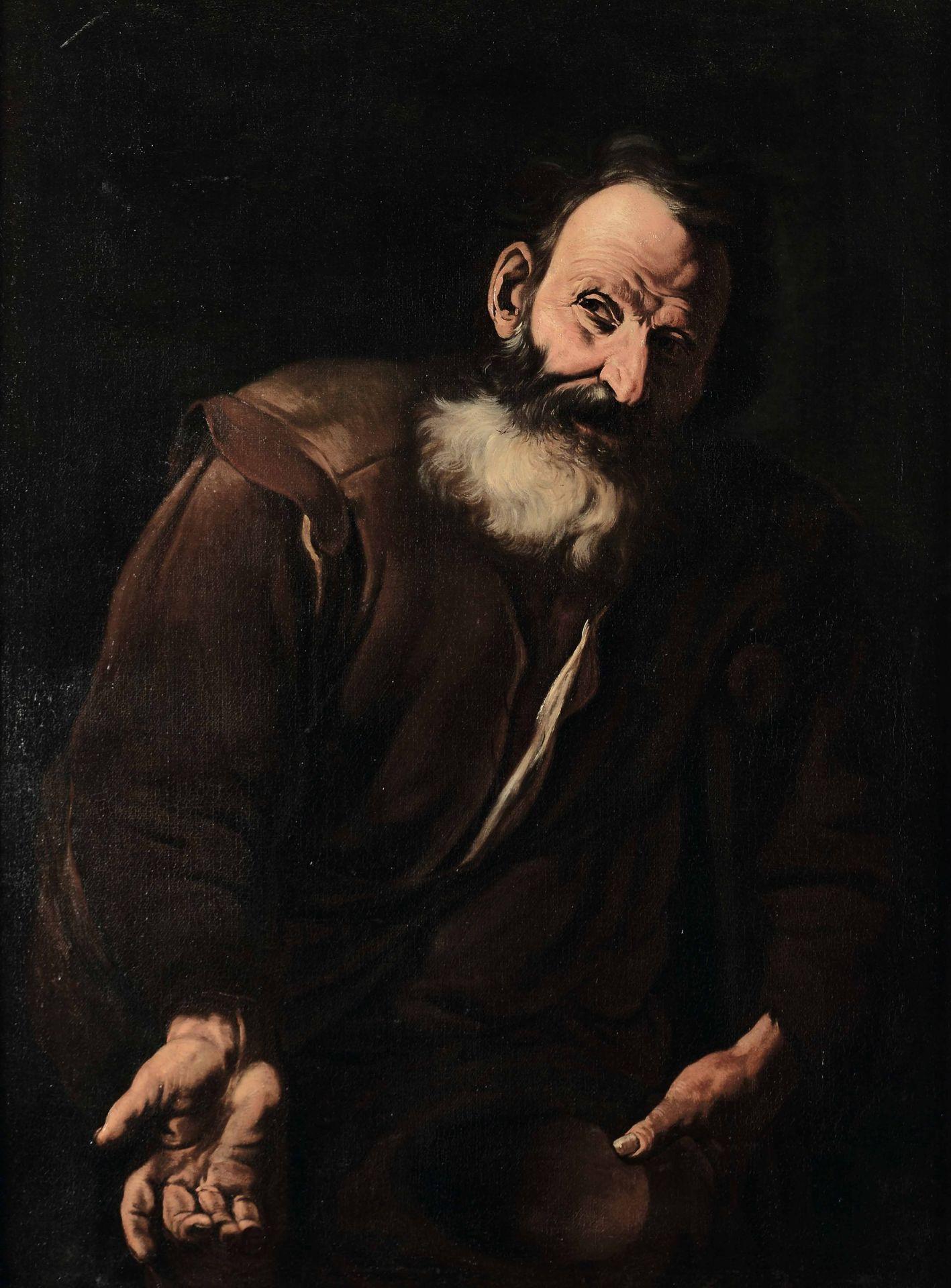 Los 11 - Scuola napoletana della metà del XVII secolo, Vecchio mendicante con cappello - olio [...]