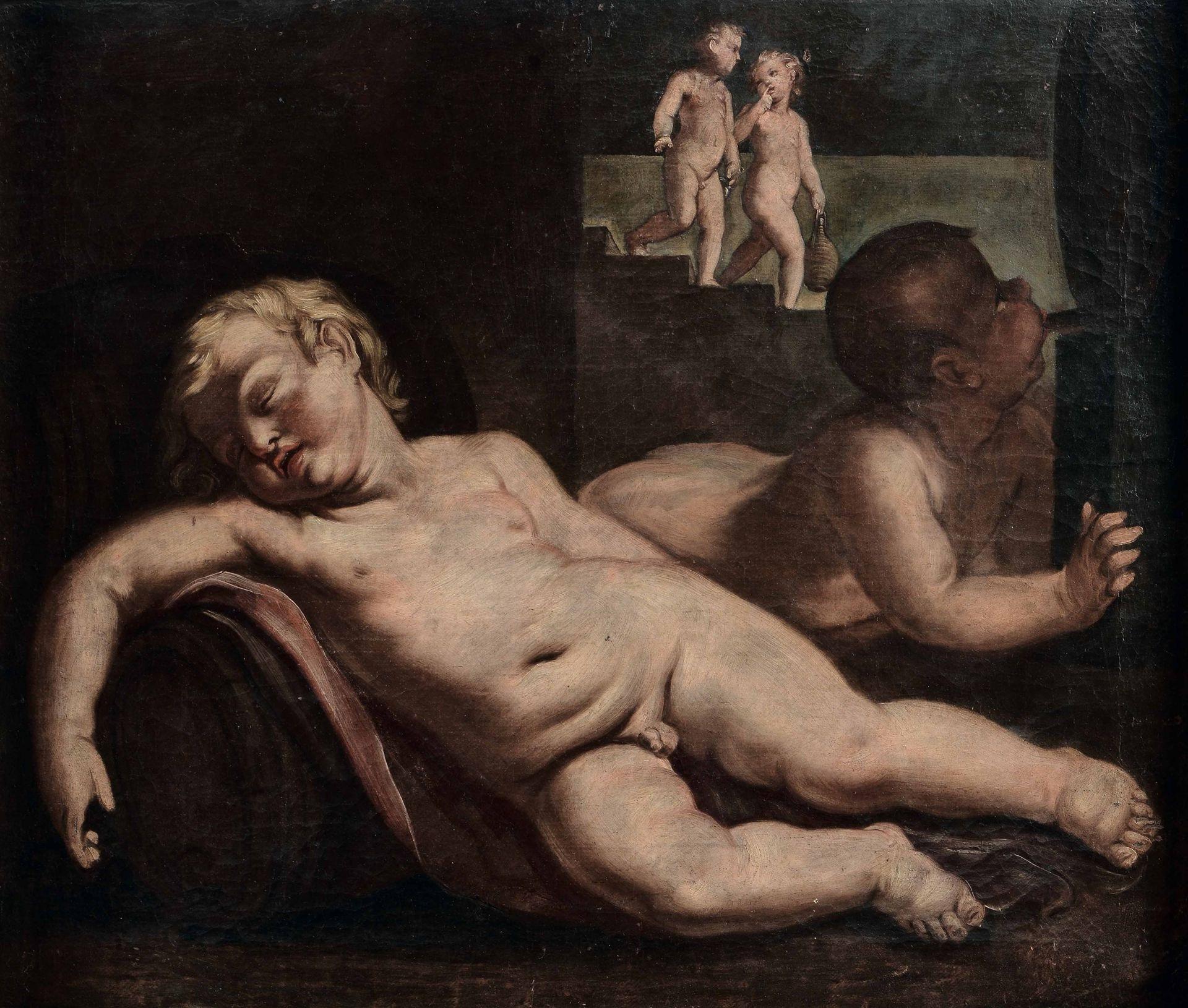 Los 13 - Scuola del XVII secolo, Putti ebbri - olio su tela, cm 73x87 entro cornice dorata -