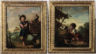 Scuola del XVIII secolo, Fanciulli che giocano entro paesaggio - coppia di dipinti a [...]