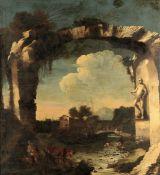 Antonio Travi detto il Sestri (Genova 1608-1665), Paesaggio con rovine e figure - [...]