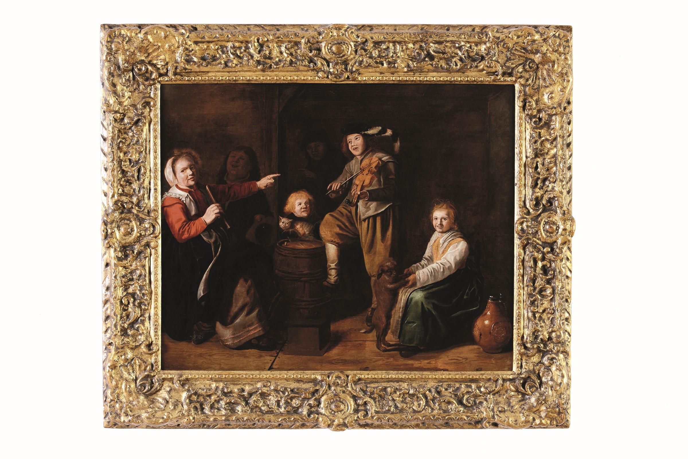 Lot 60 - Jan Miense Molenaer (Haarlem 1610-1668), Interno con ragazzi che suonano - olio su [...]