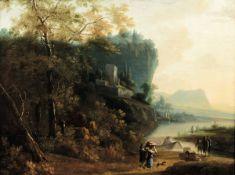 Adam Pynacker (Delft 1620 - Amsterdam 1673), Paesaggio fluviale con personaggi e [...]