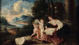 Domenico Piola (Genova 1627-1703), Allegorie della Geometria e della Musica - coppia [...]