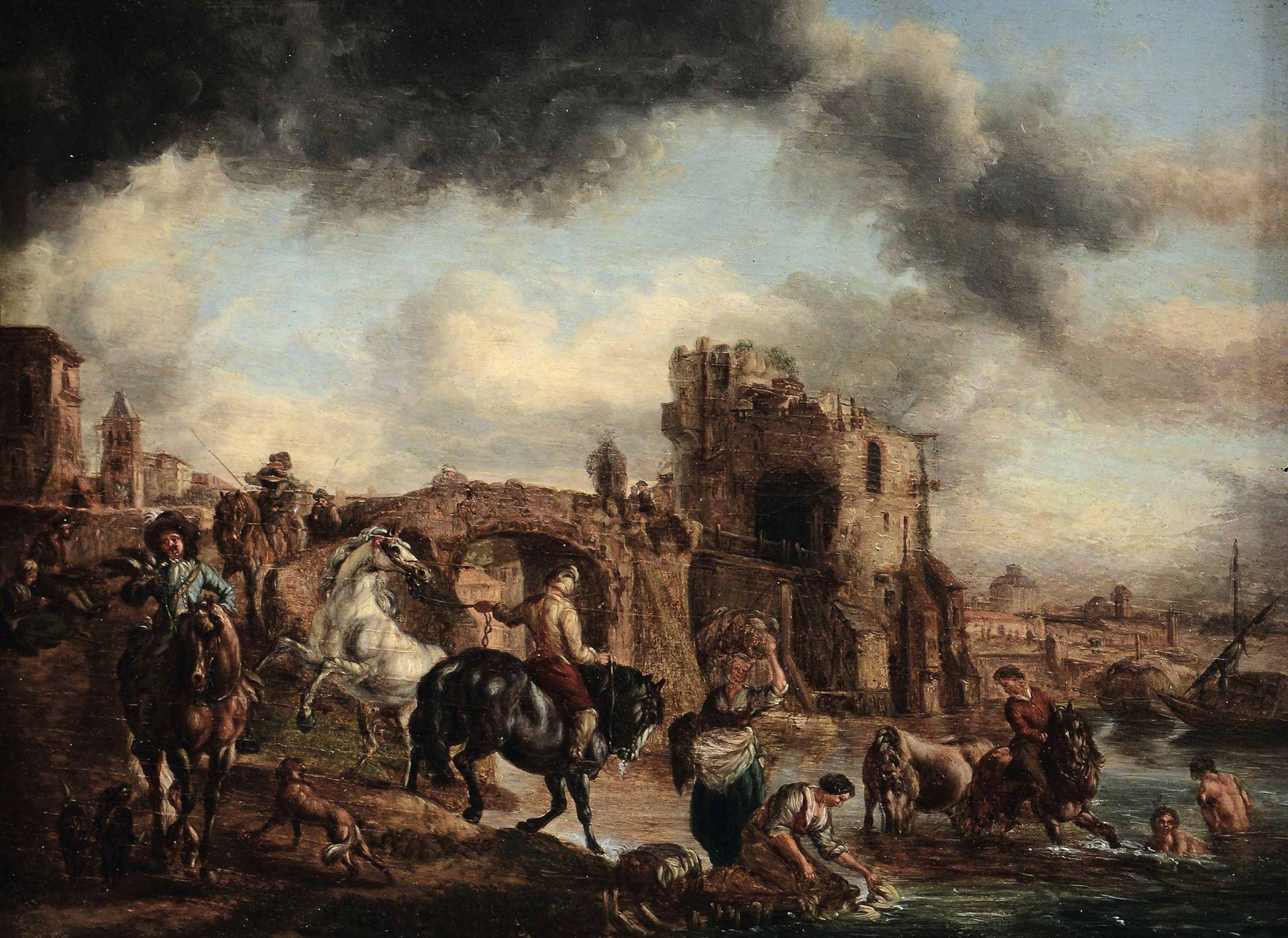 Los 57 - Scuola fiamminga del XVIII secolo, Paesaggi con personaggi a cavallo - coppia di [...]