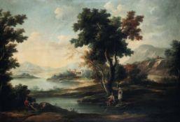 Scuola del XVIII secolo, Paesaggio con personaggi a riposo in riva al fiume - olio su [...]
