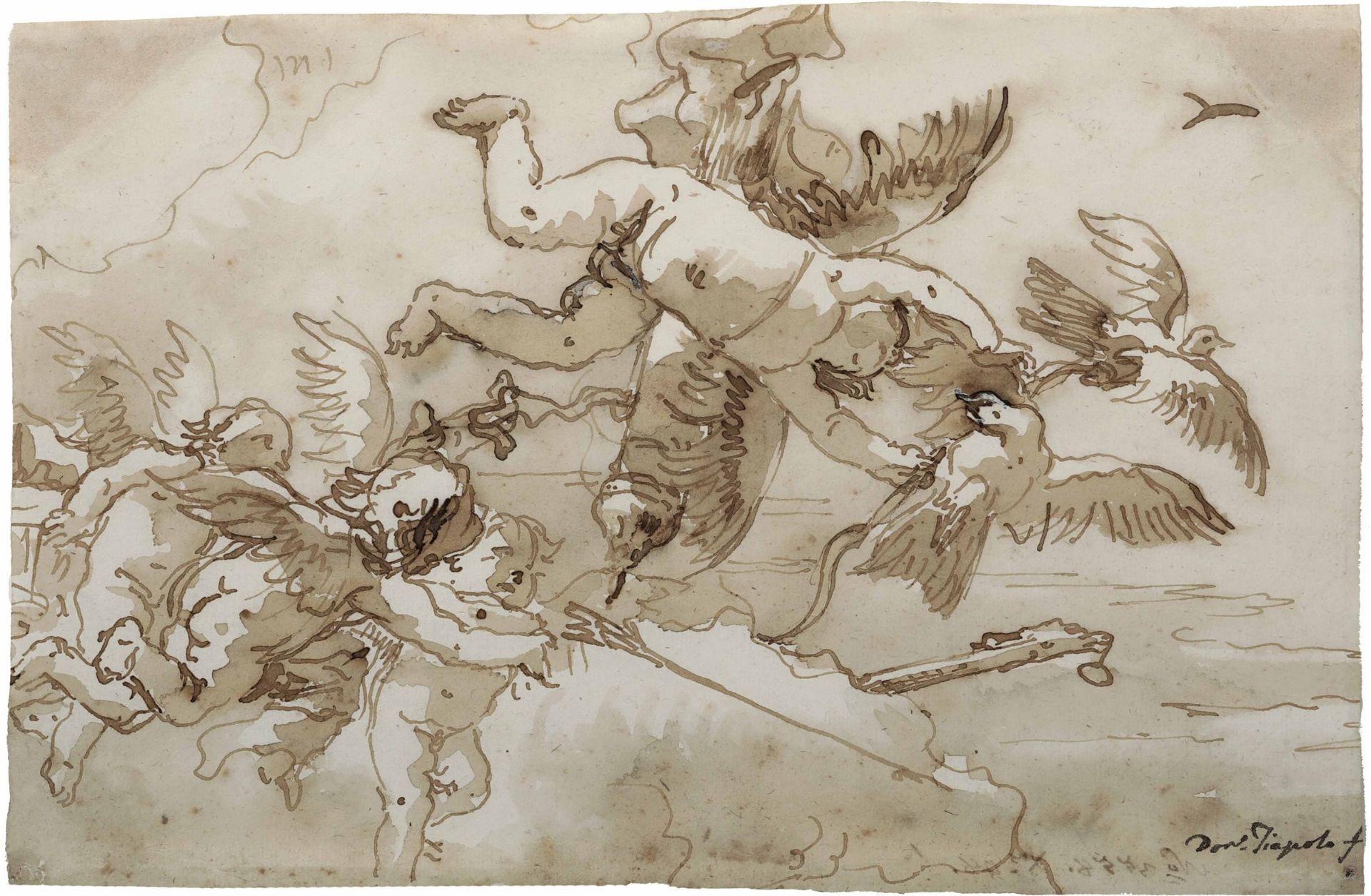 Los 7 - Giandomenico Tiepolo (Venezia 1727-1804), Cupido e amorini - penna e inchiostro bruno [...]